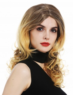 Perücke Damen lang gewellt Mittelscheitel Balayage Braun Blond Mix
