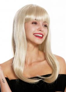 Perücke Damen Damenperücke lang glatt Pony hellblond blond retro 50er MA116-22