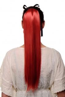 WIG ME UP Haarteil Zopf Pferdeschwanz Steckkamm Band Rot glatt sehr lang 60 cm