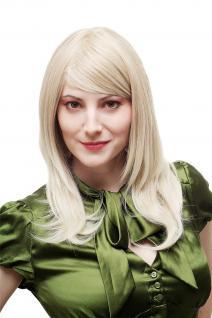 Perücke Damenperücke Blond gesträhnt Strähnen sexy Scheitel gestuft glatt 3441