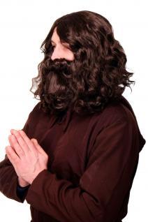 Perücke Bart Karneval Guru Jesus Hipster Waldschrat Urmensch braun WIG005-HK5