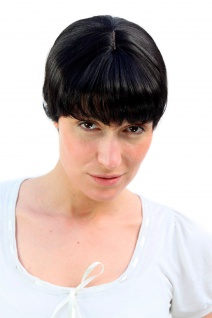 Damenperücke Wig Kurzhaarschnitt schwarz kurz Haarersatz Bob Pony 20 cm 1007-2
