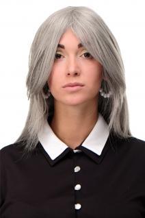 Perücke Wig lang Grau Silbergrau-Schwarz-Mix gestuft glatt Scheitel 75cm 3110-51