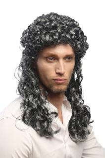 Perücke Herren Damen Karneval grau schwarz Vokuhila Proll lockig Barock Edelmann