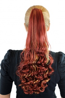 Haarteil Zopf Rot Blond gesträhnt lang 50cm gelockte Spitzen Extension SC-29