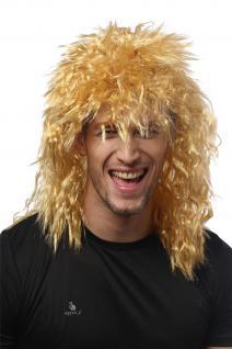 Perücke Damen Herren Karneval Wilde Kink-Locken Löwe Proll Vokuhila Hell-Blond - Vorschau 4