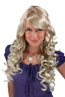 Perücke Wig gelockt Blond Mix sehr lang Scheitel Haarersatz 65 cm 7633-27T613