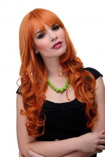 Perücke Wig Rot Rot/Orange Wellig Lang Pony glatt 285-T2735 65cm