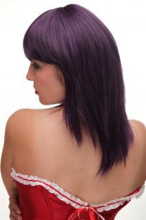 Damen Perücke Pony schulterlang glatt dunkle Lila Violett Blau Mischung GF-W2203 - Vorschau 5