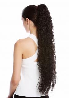Haarteil Zopf extrem lang voluminös lockig Krepplocken gekreppt Dunkelbraun 75cm