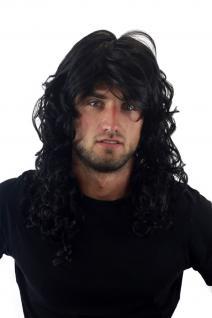 Rocker-Perücke, Wig, lockig, schwarz, 80er, Heavy Metal, Länge 55 cm, GFW806-1B