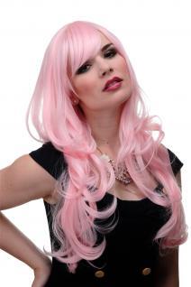 Perücke Wig Rot Rosa Hellrosa Wellig Lang Pony glatt 285-T2333 65cm