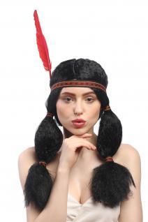 Perücke Damen Karneval Fasching Indianer Indianerin Squaw Zöpfe Stirnband Feder