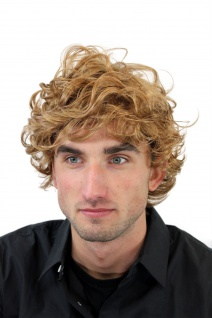 Perücke Damen Herren kurz wild voluminös gelockt Blond Dunkelblond GFW963-19