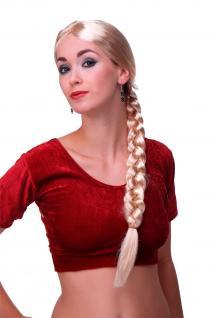 Damen Perücke Karneval Fasching Rapunzel lang blond geflochtener Zopf Per-P02