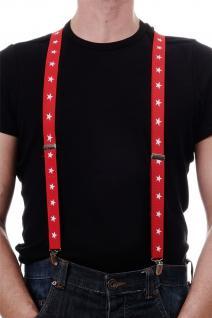 Halloween Karneval Hosenträger Suspenders rot weiße Sterne Cowboy W-060-White
