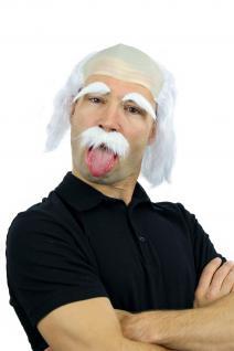 Fasching Karneval Halloween Perücke Bart Set Einstein Opa Alter Kauz 3893-P68