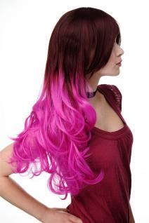 Extravagante Damen-Perücke Ombre Mahagoni-Braun Pink leicht lockig 60 cm H9704 - Vorschau 3