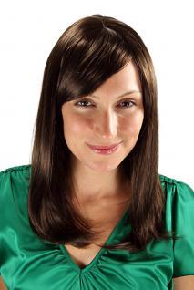 Damen Perücke Wig braun glatt geschwungen Spitzen Haarersatz lang 50 cm 3120-6