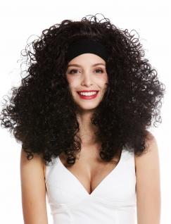 Perücke Damen Karneval Stirnband lang gelockt lockig voluminös Latina schwarz