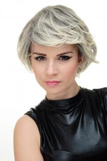 Perücke Damenperücke Damen Kurzhaar sexy Dunkelbraun helle grau-blonde Strähnen