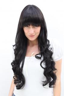 Schwarze Damen Perücke sehr lang Haare Pony lockige Spitzen ca. 70 cm 3116-2 wig
