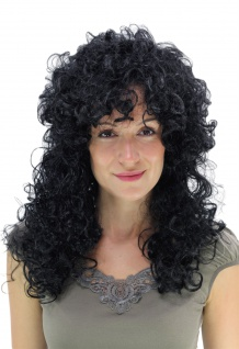 Perücke Fasching Karneval Latina Lockenpracht schwarz lockig lang Wig PW0032