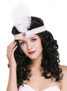 Haarband Haarreif Stirnreif Pailletten Charleston 20er Cabaret weiß pink VQ-006