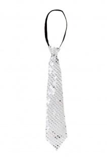 Krawatte Fasching Karneval Revue Cabaret Pailletten breit Silber VQ-020-SILVER