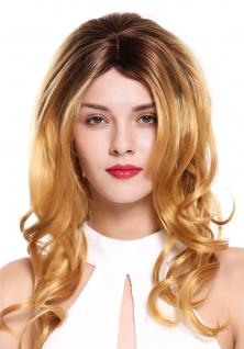 Damenperücke Perücke lang gewellt gelockt Mittelscheitel Ombre Braun Blond