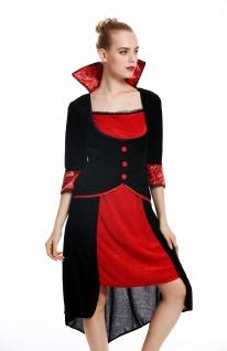 Kostüm Damen Frauen Halloween Karneval Böse Fee Vampirin Kleid schwarz rot M