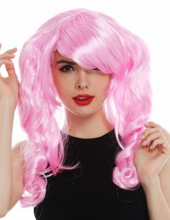 Perücke Damen Karneval Cosplay Gothic Lolita girly style lange Zöpfe Rosa Pink