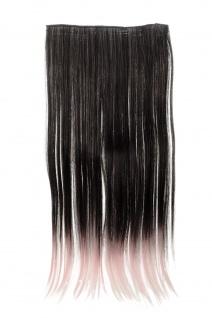 Haarteil breit Haarverlängerung 5 Clips glatt zweifarbig Schwarz-Hellrosa-Mix