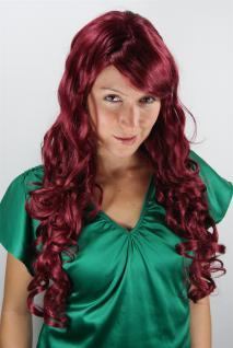 Damen Perücke Wig aubergine-rot stark lockig Locken Pony Haarersatz 65cm 7633-39