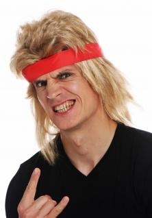 Perücke Karneval Herren lang blond Vokuhila Stirnband 80er Actio-Star Wrestler