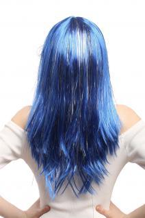 Perücke Karneval Fasching Damen lang glatt Pony blau Glitter Strähnen XR-003 - Vorschau 4