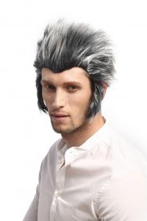 Perücke Herren Karneval Halloween Werwolf Wolf Grau Schwarz Toupiert Koteletten