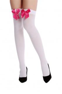 Strümpfe Damenstrümpfe Overknees Stockings Karneval weiß pinke Schleife WZ-001WR