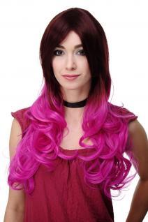 Extravagante Damen-Perücke Ombre Mahagoni-Braun Pink leicht lockig 60 cm H9704 - Vorschau 1