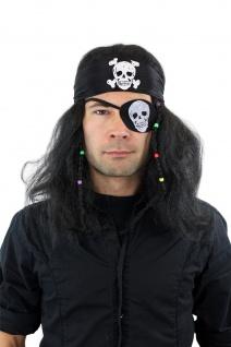 Karneval Fasching Perücke & Totenkopf-Bandana Pirat Freibeuter 26583-P103