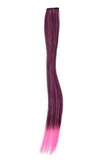 1 Clip-In Extension Strähne Haarverlängerung glatt Pink 45cm YZF-P1S18-1BTT2124