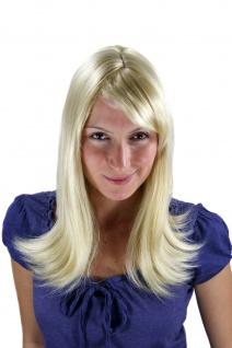 Damenperücke Perücke Blond Hellblond lang glatt Spitzen gewellt 50 cm 3218-611