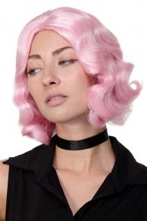 Perücke 20er Jahre Swing Charleston Mittelscheitel Wellen Pink Rosa GFW1726