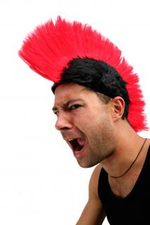 Karneval: Perücke Punk Mohawk Irokese Iro Anarchie schwarz/rot LM-420-P103/PC13