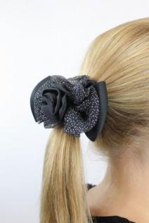Spanische Rose schwarze Haarrose mit silberner Rose Z028