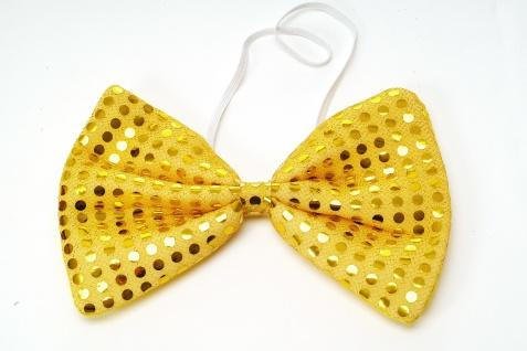 Fliege Groß Clownfliege Bowtie gold gelb Glitzer Pailletten Riesenfliege VQ-029 - Vorschau 2