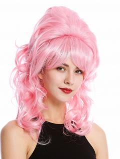 Perücke Damen Barock 60er retro Beehive Hochsteckfrisur Dutt lockig lang Rosa