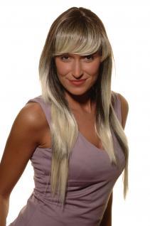 Rockerbraut Perücke lang Schwarz blond auslaufende Haare glatt 70 cm SA-147-2T9