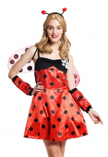 Kostüm Damen Damenkostüm Frauen Marienkäfer Ladybug Flotter Käfer Gr. S/M W-0058
