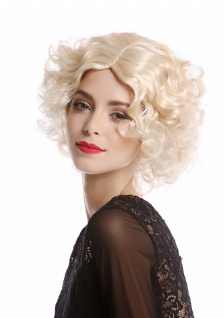 Perücke Damen Karneval Diva Hollywood kurz lockig Mittelscheitel hellblond blond